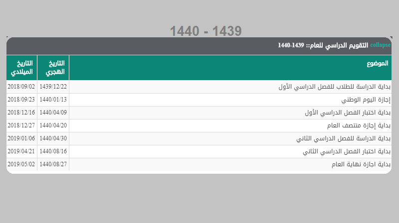 إجازات 1439 السعودية الرسمية وفق التقويم الدراسي لخمس سنوات وأخر