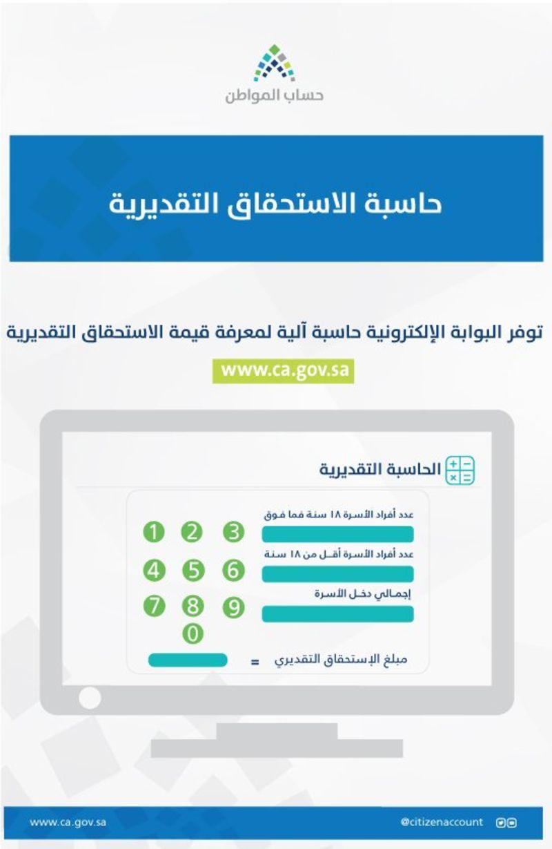 حاسبة الاستحقاق القديرية من برنامج حساب المواطن