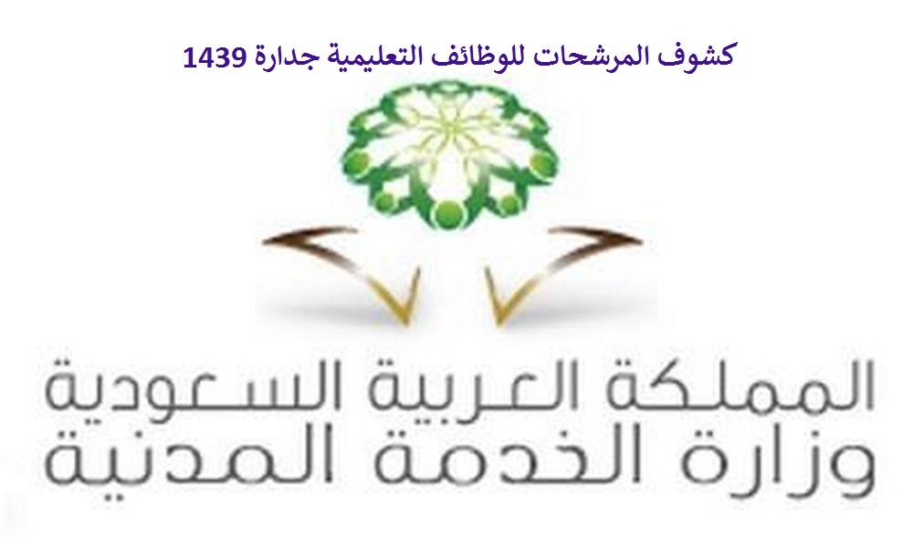 كشوف المرشحات للوظائف التعليمية جدارة 1439 والمستندات والاوراق المطلوبة لعملية مطابقة البيانات وزارة الخدمة المدنية