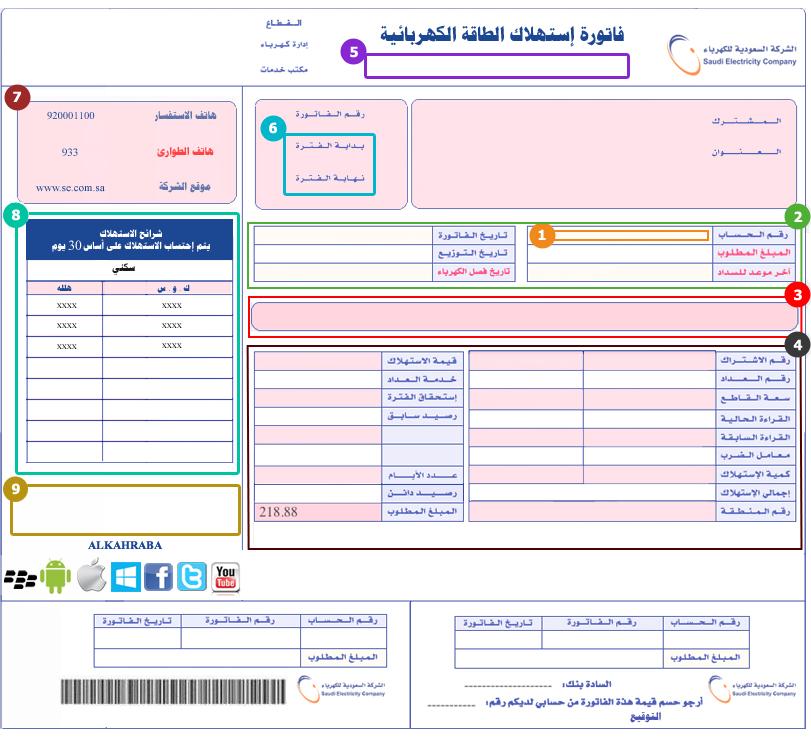 أدخال رقم حسابك بشركة الكهرباء السعودية
